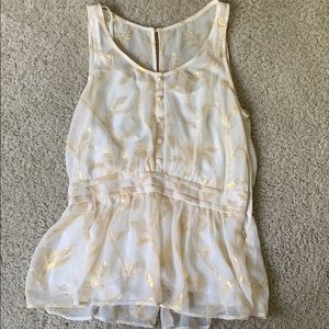 Sheer white Anthropologie tank top with gold leave